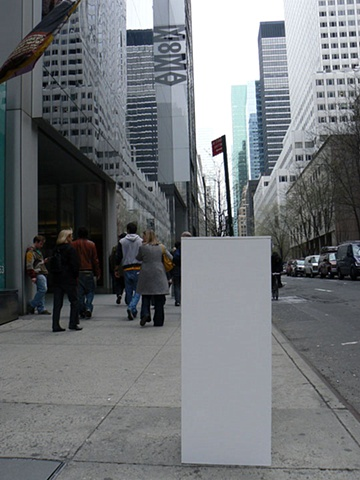 Susan Kennedy: Pieces, installation at MOMA, New York, NY, sidewalk