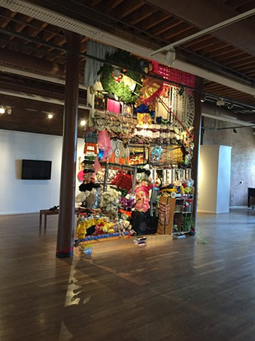 Weaving of household objects by Courtney Kessel at the Columbus Cultural Arts Center