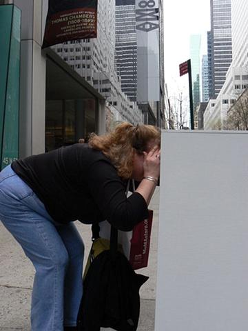 Susan Kennedy: Pieces, installation at MOMA, New York, NY, sidewalk