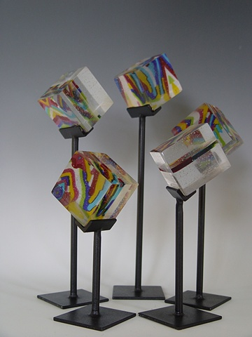 Fused, cast and polished glass cubes