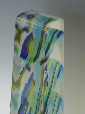 Fused, cast and polished glass column.