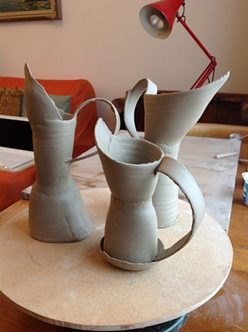 Small Jug Forms- Leather Hard (nit fired yet)