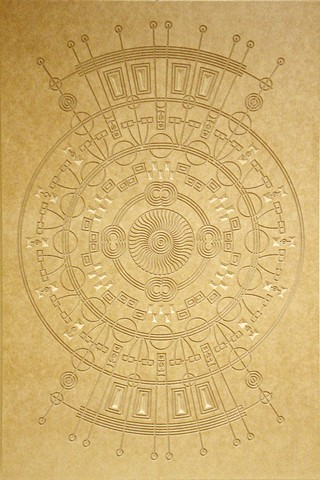 Carved modern contempory art that expresses the inspration of the stone relief's of the ancient world (hieroglyphs and petroglyphs), the architectural detailing of Frank Lloyd Wright and the infamous extraterrestrial crop circle patterns.