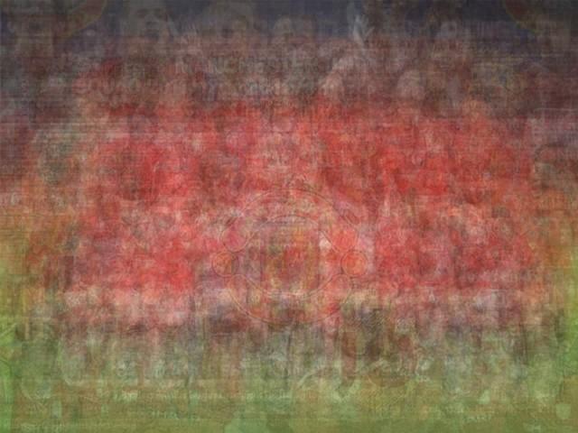 UEFA Manchester United man u blurred blurry print soccer football Larkin team photo