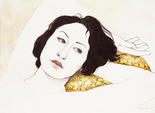 Portrait, figure art, woman lying on pillow