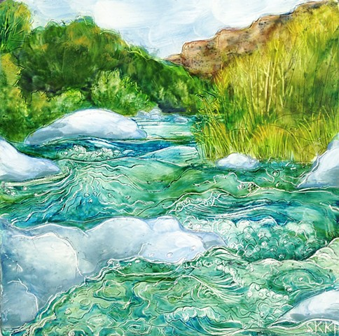 Landscape Painting, river painting, Painting of River, painting of Rio Grande, Taos landscape painting