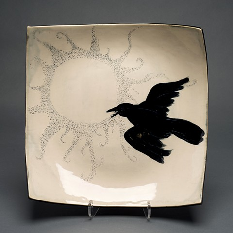 square platter with black bird