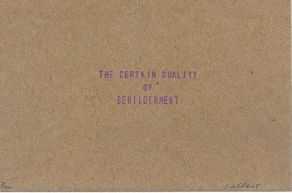 the certain quality of bewilderment