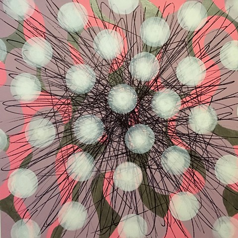 Pink and Metallic Silver Burst