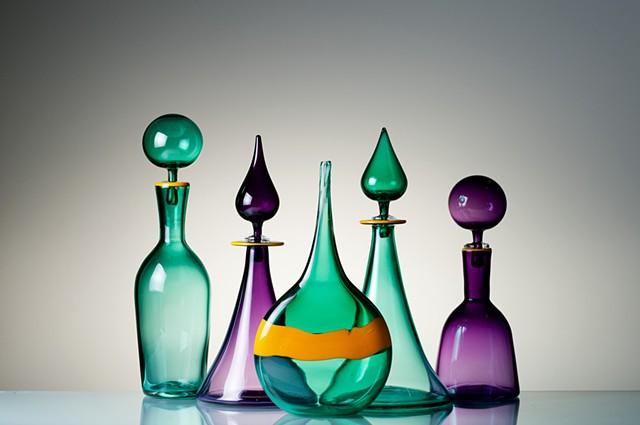 Genie Bottles, hand blown glass decanters with stoppers