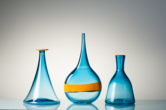 Genie Bottles, hand blown glass decanters and sculptures