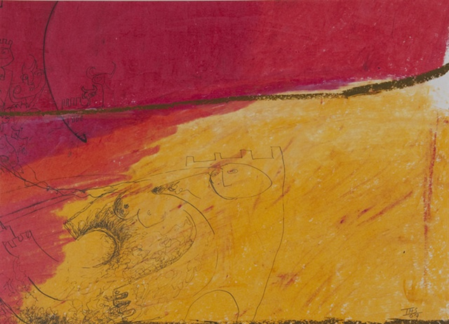 Mixed Media Red and yellow loose drawing