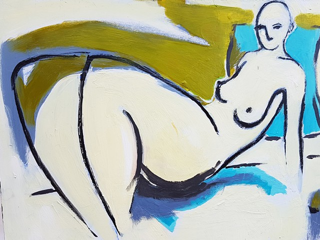 Reclining Woman in Olive Green