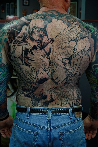 Fighting roosters tattoo Eric james tattoos