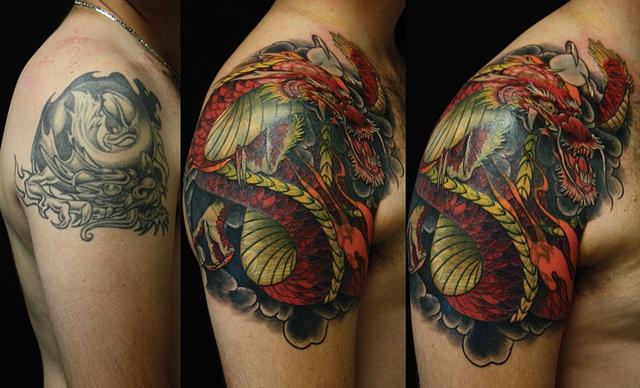 dragon japanese tattoo Eric James Phoenix Tattoo company Arizona