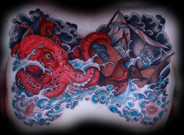 Eric James tattoo, Phoenix Arizona tattoo art, octopus tattoo, color tattoo, chest tattoo, best tattoo, blind tiger tattoo