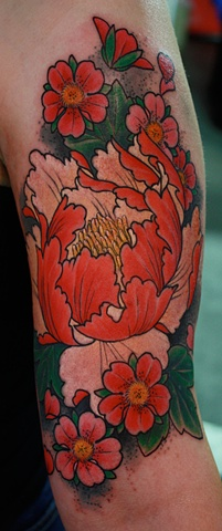 Peony tattoo cherry blossoms Eric James Tattoos
