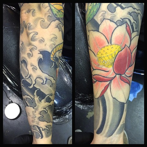 eric james tattoo, blind tiger tattoo, lotus flower tattoo, color tattoo, arizona tattoo, phoenix tattoo