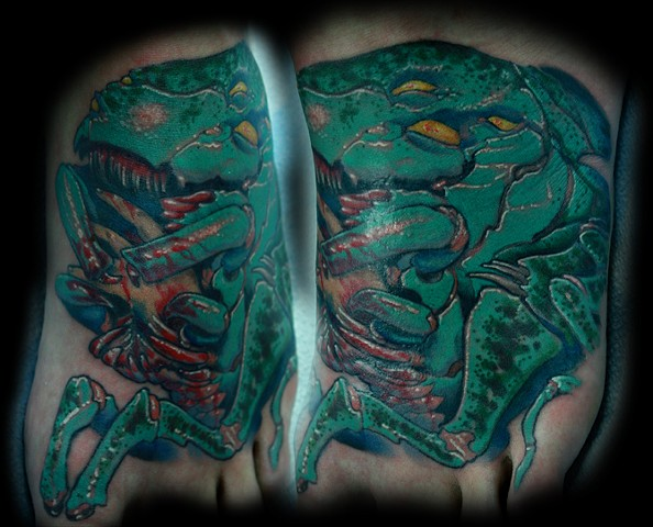 eric James tattoo, Phoenix Arizona tattoo art, creature tattoo, bug tattoo, scary tattoo color tattoo, best tattoos