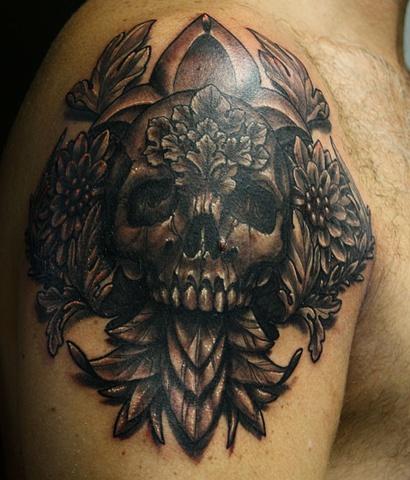 Skull tattoo Eric James Phoenix Tattoo Company