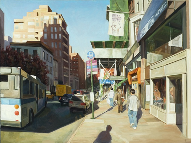 city scape, urban scape, or downtown Manhatten, bus, pedestrians
