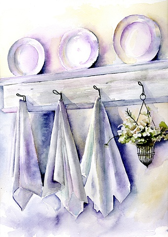 White linens and plates