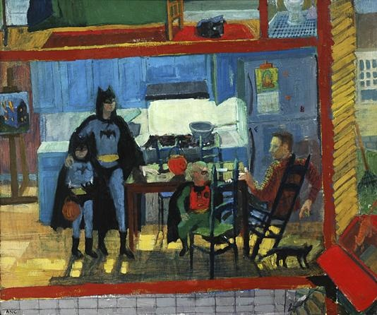 casein painting of family dressed as batman characters for halloween superhero Ashley Norwood Cooper