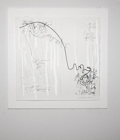 mixed media paper, wire, calligraphic
