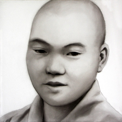 """With Peace, ink wash on paper portrait by Barbara Stout, 24"""" by 24""""."""