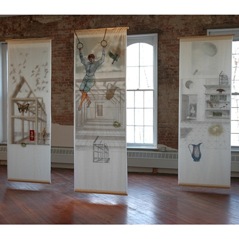 Mixed media installation referencing memory by Cristina de Gennaro.  Installed at The Hat Factory; Peekskill, NY.
