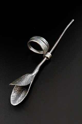 Beth Hylen Detail of Breathing Carefully Fine silver ring wearable jewelry mixed media