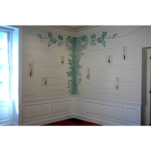 Site-specific mixed media installation addressing survival, memory and history by Cristina de Gennaro.  Installed in the Glyndor Gallery at Wave Hill, Bronx, NY.