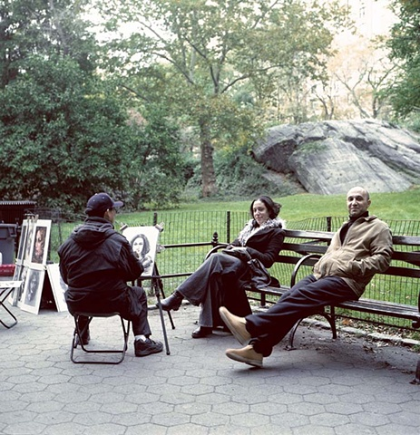 artist painting woman in Central Park