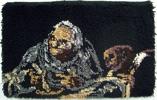 Latch hook rug based on a painting by Francisco de Goya