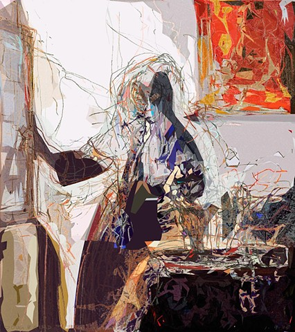 Vermeer, young woman, light, shadow, interior, color, shapes, lines, perception, drawing, abstract
