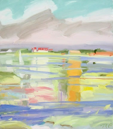 gestural oil painting on canvas of bay