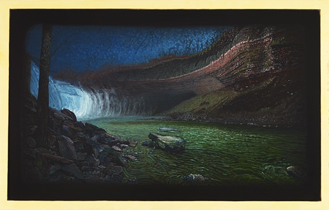 Oil painting documenting environment where the documentation of the migrating steelhead trout was collected.