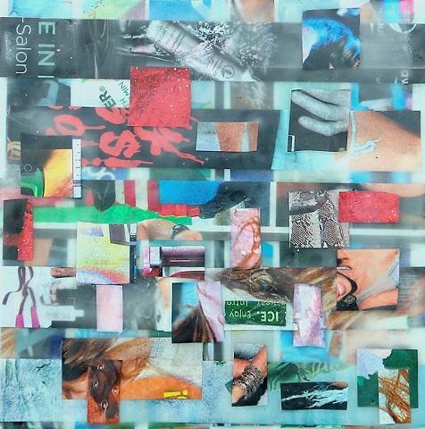 art encaustic collage artist penny wax paper heat magazine
