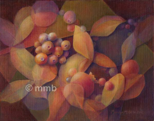 Abstract oil painting of berries