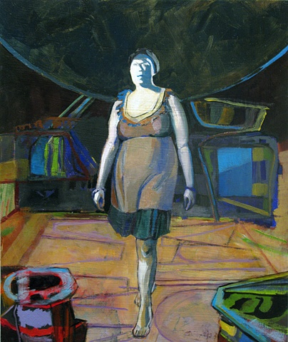 Figure of a woman walking in combination with abstract forms