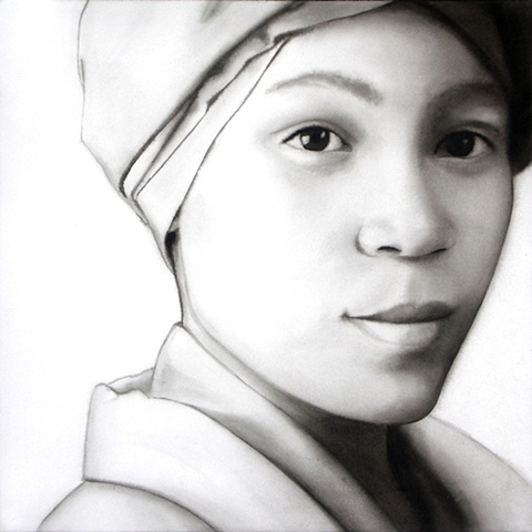"""""""From the Borderlands"""", ink wash on paper portrait by Barbara Stout, 24"""" by 24"""". From """"In the Grey,"""" a series made up of larger than life ink wash on paper portraits with constructed ambiguous gender attributes of each face."""