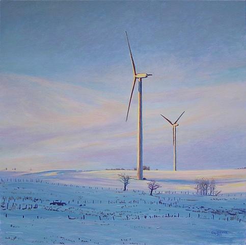 Henry J. Drexler painting winter landscape windmills turbines renewable clean energy sustainable rural economy  near Hamilton Madison county, upstate New York.
