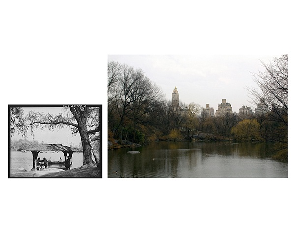 "View from smaller lake, Central Park, NYC  1943 & 2007 Gelatin Silver print and Digital C-print 8 x 10"" and 20 x 26"""