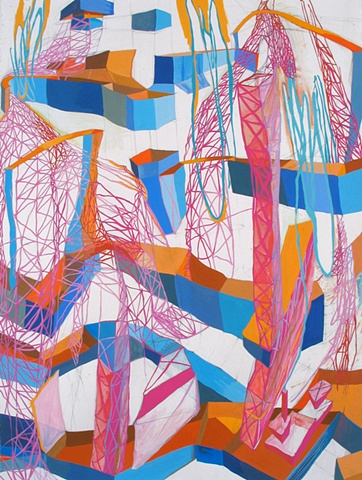 Gouache abstract linear drawing and painting on paper, repetition and layering, organic, body, factory, industrial, playful, landscape references