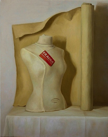 Elizabeth Malunowicz oil on canvas, mannequin still life