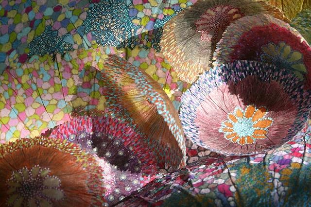 Outdoor Installation Sculptural etching handmade paper botanical Jill Parisi