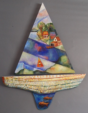 Sailboat::  Acrylic on canvas and wood