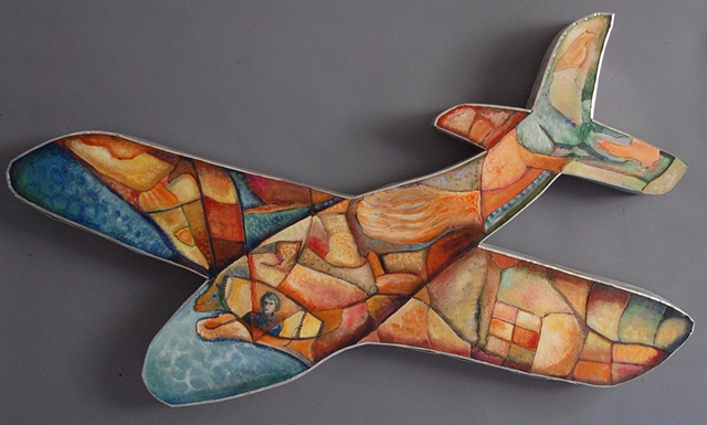 Airplane: acrylic, wood, metal, fabric.