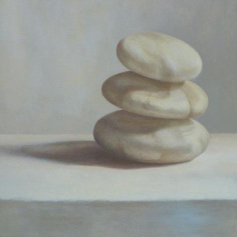 Elizabeth Malunowicz rocks, trinity, three, nature still life oil on canvas