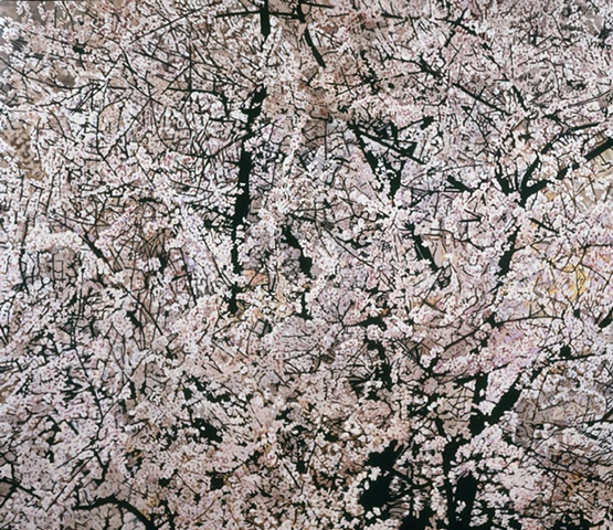 This is a closely cropped painting of an almond tree in bloom that was seen in  a parking lot in Biot, France.